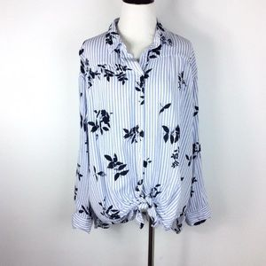 Maurice's Striped Floral Front Knot Blouse Size M